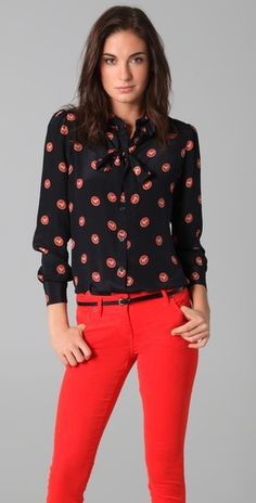 love blouse- but dare I wear jeans that color?
