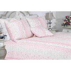Cozy Line Home Fashions Pink Rose Blue Flower Floral Printed Lace Stripe Cotton Bedding Quilt Set Reversible Coverlet Bedspread (Pink Lace, Twin - 2 Piece) Yellow Curtains, Boho Curtains, Rustic Curtains, Colorful Curtains, Patterned Curtains, Luxury Curtains, Short Curtains, Elegant Curtains, Vintage Curtains