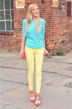Bubble-gum-mohito-bag-bubble-gum-zara-heels-light-yellow-zara-pants  I'd add a pop of color matching my purse and/or shoes, but like mixing it up color wise.