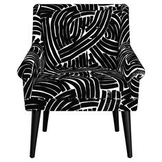 Black & White Stripes Button Tufted Chair / Oh Joy For Target Tufted Chair, Wood Arm Chair, Velvet Armchair, Grey Chair, Black White Art, Black White Stripes, Glider And Ottoman, Welcome To My House, Contemporary Dining Chairs
