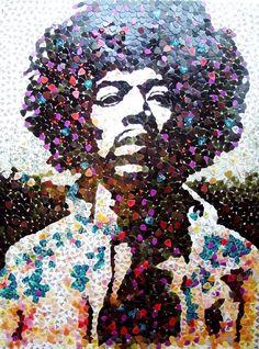 Jimi Hendrix portrait made from 5,000 guitar picks