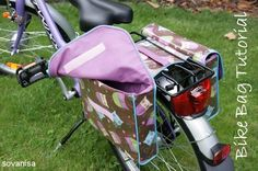 double bike bag sewing tutorial, linked from Sew Pretty Sew Free (website collects free sewing tutorials) Bike Saddle Bags, Bike Bag, Sewing Tutorials, Sewing Hacks, Sewing Projects, Sewing Patterns, Craft Tutorials, Diy Sac, Diy Accessoires