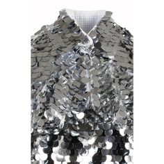 Anouki Sparkly Silver Shirt (€575) ❤ liked on Polyvore featuring tops, sparkly sequin top, sparkly tops, sequin shirts, shirt top and sequin tops