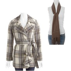 Women's Faux Wool Ruffle Front Coat and Shawl Bundle