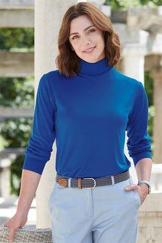 Silk Interlock Polo Neck Top Fall Winter, Autumn, Polo Neck, Short Hair Styles, Turtle Neck, Wool, Silk, Sweaters, Fashion
