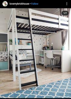 Room Design Bedroom, Room Ideas Bedroom, Bedroom Loft, Home Room Design, Kids Bedroom, Studio Apartment Bed, Cool Loft Beds, Ikea Loft, Build A Loft Bed