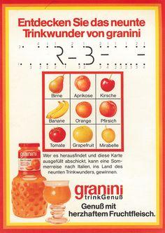 1975 | granini wird zum Genuss – Weil der Genuss in Zukunft noch mehr im Vordergrund stehen soll, integrieren wir ihn sogar in unseren Markennamen: so wird aus granini Trinkfrucht das neue granini Trinkgenuss.
