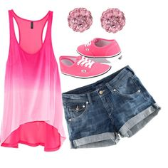 cute outfit just replace the shorts with a different pair really like the pink vans would also look cute with pink converse