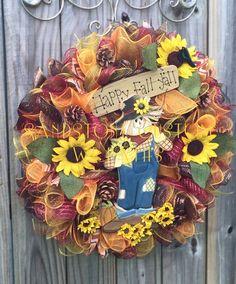 Happy Fall Y'All deco mesh Fall Wreath by SandstoneCustmWreath-sold