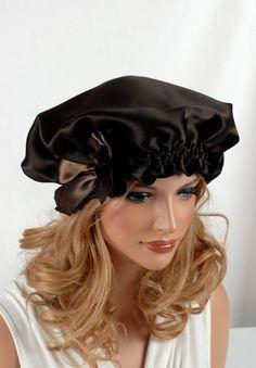 100 Silk Sleep Bonnet Espresso Charmeuse Fully by AdorabellaBaby, $47.00