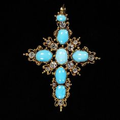 #Gold and #turquoise necklace, England, ca.1830 l Victoria and Albert Museum