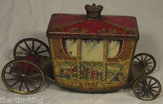 "Super Antique Jacob's""Coronation Coach""RARE Figural Biscuit Tin C1936"