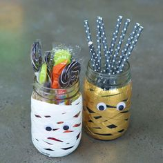 Duck Tape DIY Mummy Jars