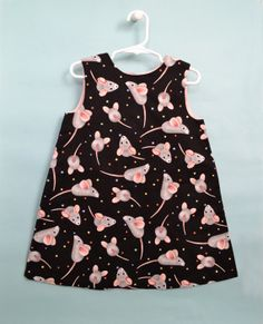 Children's dress - size 3 Only - Gray and PInk Mice on Black Background - All cotton