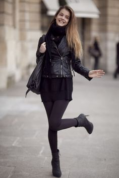 Sweater dress, leather jacket, scarf, bag, leggings. Awesome black.
