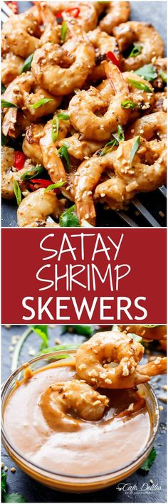 Grilled Satay Shrimp Skewers - Smothered in the BEST 10 minute Thai ...