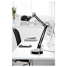 FORSÅ Work lamp with LED bulb, black. Classic style work lamp in steel that will brighten up your day. The arm and shade are adjustable which makes it a great lamp for reading by the desk, bed or sofa. Ikea Desk Lamp, Table Lamp, Office Lighting, Home Lighting, Ikea Forsa, Ikea Home Office, Ideas Habitaciones, Clear Light Bulbs, Work Lamp