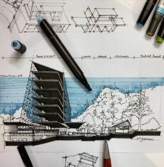 70 Trendy ideas for tree drawing architecture projects Architecture Baroque, Architecture Design, Architecture Presentation Board, Architecture Sketchbook, School Architecture, Drawing Interior, Interior Rendering, Conceptual Sketches, Building Painting