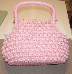 Pretty in Pink 1950s Pink Straw Handbag by ThePamperedPansy
