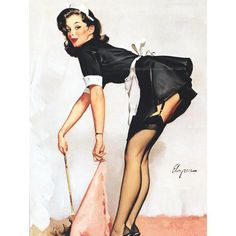 Pinup Girl Print French Maid Repro Gil Elvgren by KatyDidsCards Pin Up Vintage, Retro Pin Up, Vintage Art, Vintage Girls, Vintage Images, Gil Elvgren, Pin Up Girls, Photos Amoureux, Photo Halloween