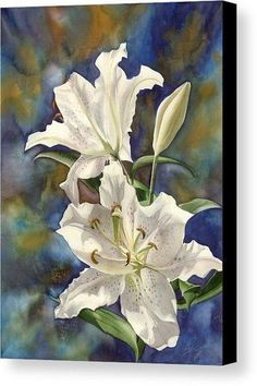 a Riot of Beauty Canvas Print by Alfred Ng. All canvas prints are professionall Lily Painting, Watercolour Painting, Watercolor Flowers, White Lily Flower, White Lilies, Canvas Art, Canvas Prints, Art Prints, Tulips Flowers