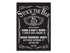 Jack Daniel's Style Stock the Bar Housewarming Party Invitations