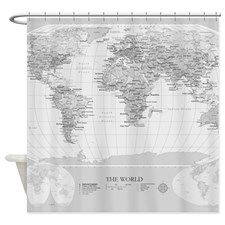 Shower curtain minimalist grey vintage map home decor travel world map shower curtain for gumiabroncs Image collections