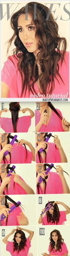 How to Curl Your Hair With A Straightener & Get Amazing, Messy Beach Waves | Long Hairstyles | Hair Tutorial Video