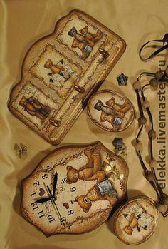 """Комплект """"Мишки-топтыжки"""" - подарок для девочки,для детей,часы,расческа"""