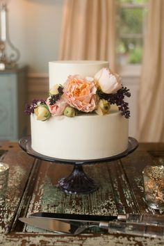 pretty little cake with peach and lilac flowers | Courtney Dox
