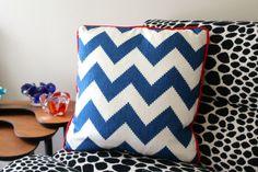 Blue chevron cushion | Miss Lolo