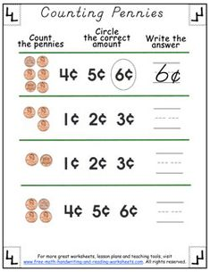Simple worksheets covering money values, change, and more. Print out these free counting pennies worksheets to get started. Counting Money Worksheets, Reading Worksheets, School Worksheets, Worksheets For Kids, Kindergarten Worksheets, Teaching Money, Help Teaching, Teaching Math, Therapy Activities