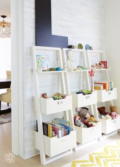 Clean, modern looking storage for a kids' playroom.