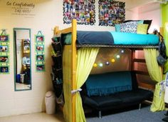 """Lofting the bed gives the room double the space. I found this photo over at Dorm to Die For.  At the college my oldest attended, all the beds were loft-able.  One year she hung a closet rod along the front and hung drapes on a tension rod."""