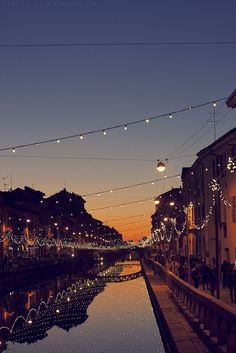 Beautiful outdoor lighting across water in Italy