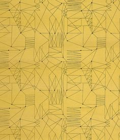 """""""Graphica"""" is a furnishing fabric sample from British textile design maven Lucienne Day for Heal's. 1954, from The Fifties."""