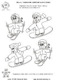 Zimné športy - čo je správne - slovná zásoba, logika Learn To Paint, Coloring Pages For Kids, Preschool Crafts, Winter, Diy And Crafts, Mickey Mouse, Baby Kids, Creations, Clip Art