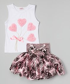 Another great find on #zulily! White Lolly Tank & Rose Bubble Skirt - Infant & Toddler by Wenchoice #zulilyfinds