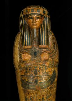 <p>Coffin and Mummy Board of Pa-seba-khai-en-ipet. Egypt, from Thebes. Third Intermediate Period, circa 1070–945 <small>B.C.E.</small> Wood, painted, 76<sup>3</sup>⁄<sub>8</sub> x 21<sup>5</sup>⁄<sub>8</sub> x 12<sup>5</sup>⁄<sub>8</sub> in. (194 × 55 × 32 cm). Brooklyn Museum, Charles Edwin Wilbour Fund, 08.480.2a–c</p>
