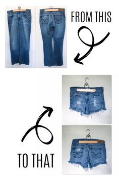 DIY Denim Shorts Have some jeans you never wear because you hate the cut? Check out this tutorial for DIY denim shorts which started out as a pair of thrift store jeans! Diy Distressed Jeans, Diy Ripped Jeans, Ripped Shorts, Diy Shorts From Jeans, Diy With Jeans, Denim Shirts, Cutoffs, Denim Jeans, Making Jean Shorts