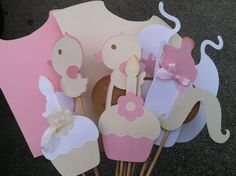 CREAM AND PINK  baby shower photo booth props by flutterbugfrenzy, $32.25 Baby Shower Photo Booth, Pink Parties, Booth Ideas, Photo Booth Props, Baby Shower Decorations, Baby Showers, Party Planning, Babys, Shower Ideas