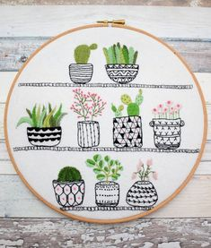 Rosie's House Plants Succulent & Cactus Embroidery Kit by BustleandSew on Etsy | Modern Embroidery Kits for Beginners