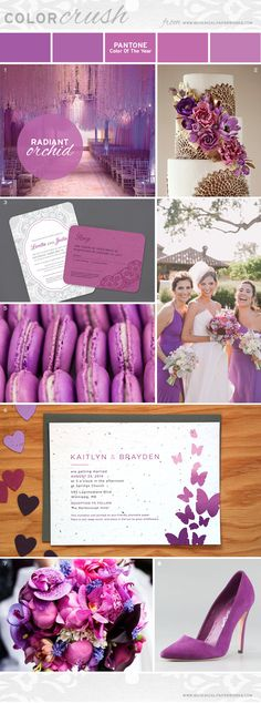 """Described as a """"captivating harmony of fuchsia, purple and pink undertones"""", PANTONE® 18-3224 Radiant Orchid is a lock for weddings in 2014."""