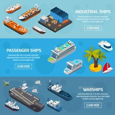 Ships Boats Vessels Isometric Banners Set Vector illustration EPS