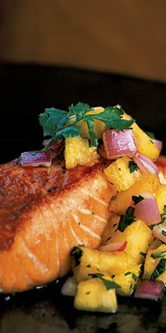 Pan-Grilled Salmon with Pineapple Salsa