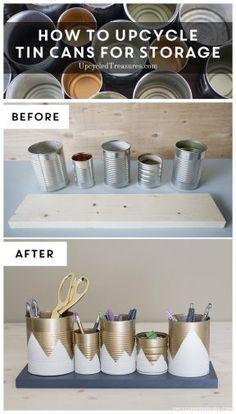 Organizadores reciclando latas