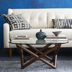 i like the couch table combo for upstairs living area Spindle Coffee Table #WestElm