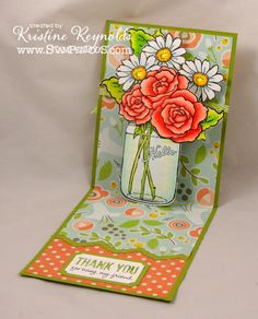 I hope you had a terrific weekend! Spent mind hanging with good friends which I just don't do enough of! Reminds me that we need to t. Fancy Fold Cards, Folded Cards, Pop Up Cards, Your Cards, 3d Cards, Pretty Cards, Cute Cards, Mason Jar Cards, Mason Jars