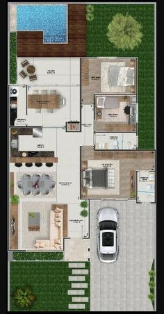 House in open concept with 3 bedrooms - . - House in open concept with 3 bedrooms – plan - Sims House Plans, House Layout Plans, Dream House Plans, Modern House Plans, Small House Plans, House Layouts, House Floor Plans, Bungalow House Design, Modern House Design
