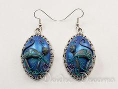 Black Cat Earrings Goth Earrings Pagan Earrings by DeidreDreams, $55.00